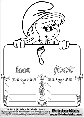 The Smurfs - Smurfette Educational Board - Foot (print) - Coloring Page 4