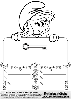 The Smurfs - Smurfette Educational Board - Key - Coloring Page 2