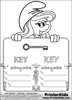 The Smurfs - Smurfette Educational Board - Key - Coloring Page 3