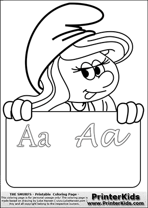 The Smurfs - Smurfette Educational Board - Letter A - Coloring Page 1