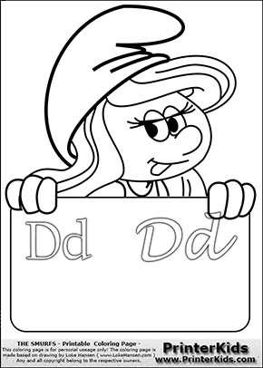 The Smurfs - Smurfette Educational Board - Letter D - Coloring Page 1