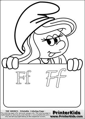 The Smurfs - Smurfette Educational Board - Letter F - Coloring Page 1