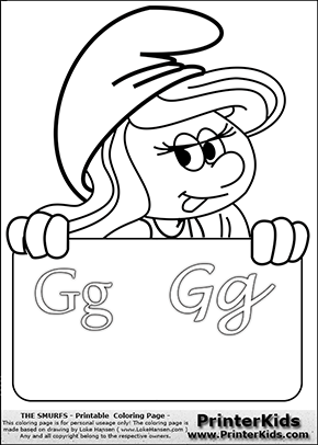The Smurfs - Smurfette Educational Board - Letter G - Coloring Page 1