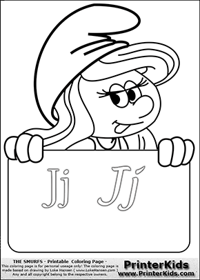 The Smurfs - Smurfette Educational Board - Letter J - Coloring Page 1