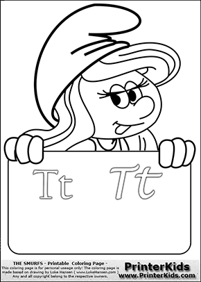 The Smurfs - Smurfette Educational Board - Letter T - Coloring Page 1
