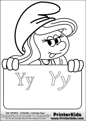 The Smurfs - Smurfette Educational Board - Letter Y - Coloring Page 1