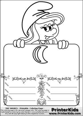 The Smurfs - Smurfette Educational Board - Moon - Coloring Page 2