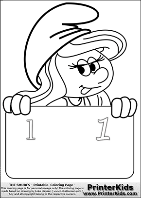 The Smurfs - Smurfette Educational Board - Number 1 - Coloring Page 1