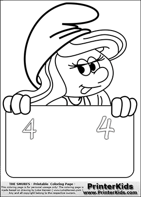 The Smurfs - Smurfette Educational Board - Number 4 - Coloring Page 1