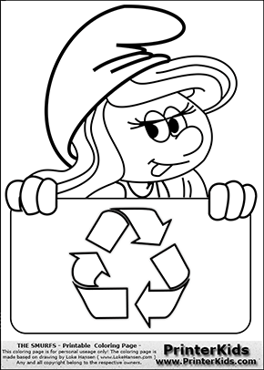 The Smurfs - Smurfette Educational Board - Recycle - Coloring Page 1