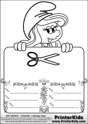 The Smurfs - Smurfette Educational Board - Scissor - Coloring Page 2
