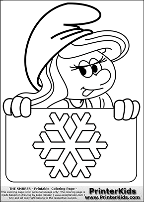 The Smurfs - Smurfette Educational Board - Snowflake - Coloring Page 1