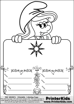 The Smurfs - Smurfette Educational Board - Sun - Coloring Page 2