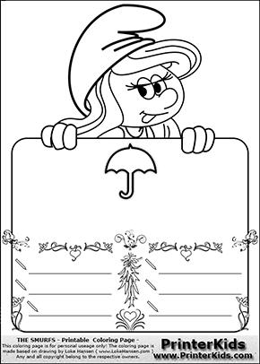 The Smurfs - Smurfette Educational Board - Umbrella - Coloring Page 2