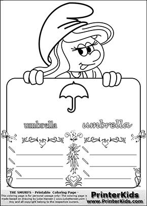 The Smurfs - Smurfette Educational Board - Umbrella - Coloring Page 4
