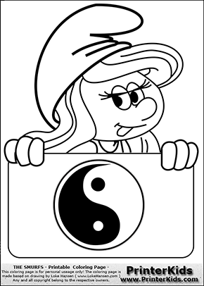 The Smurfs - Smurfette Educational Board - Yin Yang - Coloring Page 1
