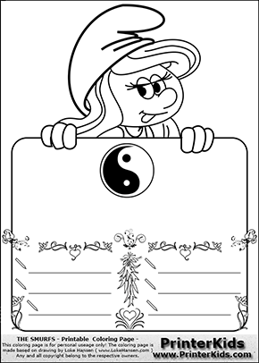 The Smurfs - Smurfette Educational Board - Yin Yang - Coloring Page 2