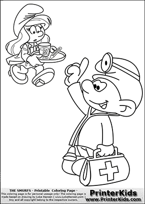 The Smurfs - Doctor Smurf and Nurse Smurfette - Coloring Page 1