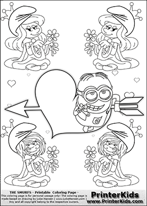 The Smurfs - Despicable Me Minion Dave plus Smurfette and Vexy Smurf Flower Queen - Cupids Arrow Heart and Small Hearts - Coloring Page 5