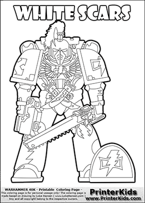 Warhammer - 40k - Imperium - Space Marine - White Scars - Coloring Page 1