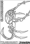 Coloring page with a Clawsaurus from the Gundalian Invaders part of the popular Bakugan cartoon / anime. The Clawsaurus Bakugan is a Super Assault Bakugan with a mighty vice-like claw. Clawsaurus is a spider-like creature with an extendable tongue that has pinchers on its tip.  The Clawsaurus attack opponents with its legs by using them as sharp-pointed spear. This Bakugan - Gundalian invaders - Clawsaurus coloring page show the creature in full from a side view. The nasty legs and tail can all be colored, just as many minor areas such as details on the front part of the head can be colored. The coloring page is designed with a lighter grey fill color in some areas to ensure that details will be visible even after coloring.