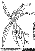 Coloring page with a Farakspin Super Assault Bakugan in anime form. The Farakspin Bakugan is a dragonfly-like Super Assault Bakugan with four metalic wings. Farakspin is a pop-up and spin Bakugan in addition to being a  Super Assault Bakugan. Farakspins four metalic wings allow it to fly very far without ever landing. The fact that Farakspin is small compared to many other Bakugan make it very  difficult to catch. Farakspin has exceptional night sight and the ability to generate a destructive tornado by rotating the four metalic wings at high speed. This printable Farakspin Bakugan colouring sheet show the insect-like Bakugan from a frontal side view. All of Farakspins four wings are clearly visibly and colorable. The coloring page with Farakspin include many of the Bakugan details, from the two horns on Farakspins head to the smaller rings on its body and even the small claws. The Farakspin colouring sheet is designed in landscape view so that the entire body with the sspread out wings of Farakspin appear as large as possible, with as many colorable regions as possible. Additionally, the Farakspin color page to print include a semi-transparent grey layer that emphasize character details even after coloring.