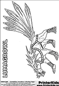 Coloring page with Lumagrowl from the Gundalian Invaders part of the popular Bakugan cartoon / anime. Lumagrowl is a wolf or fox-like Bakugan with six tails. The Lumagrowl Bakugan partnered with Kazarina and together they made up the Haos team for the Twelve Orders.  Lumagrowl can equipt swords to his six tails, and attack all round from close to medium range. This ability make the Lumagrowl Bakugan a deadly foe. Lumagrowl can also spread out its tails in a special way to  unleashes a massive lightning bolt that immobilize its opponents. The Lumagrowl Bakugan can also create a cage around its body with its tails. The cage illuminates and block attacks. This Bakugan Lumagrowl coloring page to print show the Bakugan from a 3rd person sided view. The colouring sheet is designed in landscape mode so that the massive tails with swords appear as large as possible for coloring. The coloring page has several neat details that can be colored such as the harness-like belts around Lumagrowls body and small colorable features on the ancles. The printable Bakugan Lumagrowl coloring page show the creature with a rather angry expression, something quite rare for the Lumagrowl Bakugan that show very few expressions in the anime series. The Lumagrowl coloring page show the six sword tails on Lumagrowl fanned out and include a grey background detail layer that make small details stand out even after coloring.