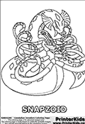 Coloring page with Snapzoid from the Gundalian Invaders part of the popular Bakugan cartoon / anime. Snapzoid is a snake or even slug-like Bakugan. In its Bakugan form, Snapzoid resemble a snake with a dragon head. It has many similarities with Serpenoid and Rattleoid. Inside Snapzoids mouth, it has another head with a deadly venomous bite. Snapzoid appeared in episode 5 of Bakugan: Gundalian Invaders, where it was used by a Subterra Brawler that defeated Mason Brown and his Pyrus Clawsaurus. The coloring page to print show the Snapzoid Bakugan in a frontal pose with both of its heads clearly visible. You can coloth the large and the small snake-like heed on the oloring sheet, just as the huge snakelike body can be colored. The eight tentacle-like features on the Snapzoid Bakugan are also available as coloring parts of the printable coloring sheet.