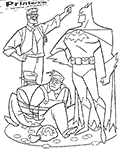 This Batman printable coloring sheet show The Batman standing proud in front of two tied-up Bank robbers that are sitting in a pile of loot - various coins and sacks of money. Commissioner Gordon is standing on the other side of the bank robber pointing away from the scene (as if gesturing that the bank robbers are on the way to jail).