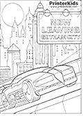 This Batman coloring page for printing show Batmans most popular vehicle - The Batmobile driving out of Gotham City.