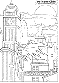This Batman colouring sheet show The Batman on a roof top in Gotham city at night, with a large full moon slightly covered in clouds in the background above the Gotham City skyline. Batman is drawn so that one side of his cape is spread out wide.