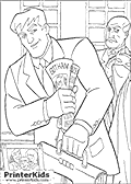 This Batman coloring page show Bruce Wayne leaving for work, with his butler standing in the background holding the Batman suit (outfit). Bruce Wayne is leaving with a briefcase in his hand, and a small picture of Bruce wayne as a child and his parents can be seen and colored as well.
