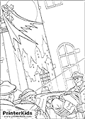 This Batman printable colouring sheet show Gotham Police Officers helping two bandits into their police car. The bandits are tied up and have a note on them with Batmans symbol on it. Batman can be seen in the distance kneeling on a roof in front of a full moon.