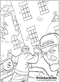 This Batman colouring sheet to print show two bank robbers that just robbed a huge amount of money. One of the bank robbers is shown with a sack of money in his hands and the other is shown close up with almost just the face visible. Batman can be seen observing the two criminals from a roof top in the background as the try to get away. A singly lamp is drawn with light indicating that this Batman coloring page is a night scene.