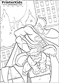 This Batman coloring page show Batman standing behind a stone gargoyle on a Gtoham City building. Batman is holding the winged stone gargoyle on the head as if ready to climb or jump over the silent stony companion in the night. As with many of the other Batman coloring pages, a full moon can be seen in the background.