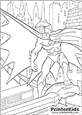 This Batman coloring page show The Batman stnading on a roof top at night in Gotham City. Batman has one foot on a gargoyle head, the gargoyle has th head of a serpent or perhaps a bird. Batman is standing with one arm down his side while the other is holding and swinging his cloak around him so that is spreads out.