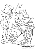 Poison Ivy Caught Batman - Batman coloring page