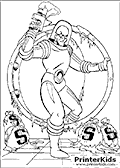 Mr. Freeze Robbing a Bank - Batman coloring page
