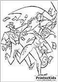 This Batman coloring page show Harley Quinn and The Joker escaping after a robbery with money floating in the air. Harley Quinn is running furthest away from The Batman that is swinging in the air towards the two joker themed villains. Harley Quinn is holding a bag of money in one hand and the Joker is shooting at The Batman with a boxing glove punch gun.