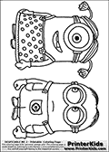 Coloring page with two Minions from Despicable Me and Despicable Me 2. This coloring page for printing show two Despicable Me Minion standing with the arms down to the sides. One of the minions has a female look with a wig on that has pony tails. Print and color this Despicable Me page that is drawn by Loke Hansen (http://www.LokeHansen.com) based on an image found online from one of the two movies.