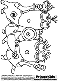 Coloring page with three Minions  from Despicable Me and Despicable Me 2. This coloring page for printing show three Despicable Me Minion standing together. One of the minions has a glass raised in one hand, the middle one a party blowing whistle and the last one a glass raised with ice cream in it.  Print and color this Despicable Me page that is drawn by Loke Hansen (http://www.LokeHansen.com) based on an image found online from one of the two movies.