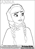 Coloring page with ANNA from the 2013 movie by DISNEY PIXAR called FROZEN (FROST in several countries as well). This coloring page for printing show the adult princess Anna in winter clothes. Print and color this DISNEY FROZEN ANNA page that is drawn by Loke Hansen (http://www.LokeHansen.com) based on a DISNEY FROZEN movie teaser clip.