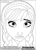 Coloring page with the face of ANNA from the 2013 movie by DISNEY PIXAR called FROZEN (FROST in several countries as well). This coloring page for printing show the face of the adult princess Anna. Print and color this DISNEY FROZEN ANNA page that is drawn by Loke Hansen (http://www.LokeHansen.com) based on a DISNEY FROZEN movie teaser clip.