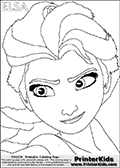 Coloring page with ELSA from the 2013 movie by DISNEY PIXAR called FROZEN (FROST in several countries as well). This coloring page for printing show the face of the royal queen Elsa with the amazing cold frost ability. Print and color this DISNEY FROZEN ELSE page that is drawn by Loke Hansen (http://www.LokeHansen.com) based on a DISNEY FROZEN movie poster image.