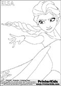 Coloring page with ELSA from the 2013 movie by DISNEY PIXAR called FROZEN (FROST in several countries as well). This coloring page for printing show the royal queen Elsa with the amazing cold frost ability reaching out with her one hand while her long hair is blowing in the wind. Only part of Elsa and her amazing dress is visible on this kids coloring page to keep the level of detail on the areas high! Print and color this DISNEY FROZEN ELSE page that is drawn by Loke Hansen (http://www.LokeHansen.com) based on a DISNEY FROZEN movie poster image.