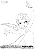 Coloring page with ELSA from the 2013 movie by DISNEY PIXAR called FROZEN (FROST in several countries as well). This coloring page for printing show the royal queen Elsa with the amazing cold frost ability drawn so that it looks as if she is dancing or using her magical ability. She has her hands and arms magically dancing in the air. Only part of Elsa and her amazing dress is visible on this kids coloring page to keep the level of detail on the areas high! Print and color this DISNEY FROZEN ELSE page that is drawn by Loke Hansen (http://www.LokeHansen.com) based on a DISNEY FROZEN movie poster image.