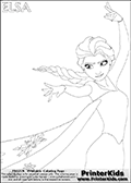 Coloring page with ELSA from the 2013 movie by DISNEY PIXAR called FROZEN (FROST in several countries as well). This coloring page for printing show the royal queen Elsa with the fantastic frost ability from about the knees and up. Only part of Elsa and her amazing dress is visible on this kids coloring page to keep the level of detail on the areas high! Print and color this DISNEY FROZEN ELSE page that is drawn by Loke Hansen (http://www.LokeHansen.com) based on a DISNEY FROZEN movie poster image.