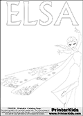 Coloring page with ELSA from the 2013 movie by DISNEY PIXAR called FROZEN (FROST in several countries as well). This coloring page for printing show Queen Elsa in full. Queen Else with the fantastic frost magic is drawn with her frozen dress on and with her long hair in the wind. Print and color this DISNEY FROZEN ELSE page that is drawn by Loke Hansen (http://www.LokeHansen.com) based on a DISNEY FROZEN movie poster image.