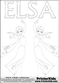Coloring page with ELSA from the 2013 movie by DISNEY PIXAR called FROZEN (FROST in several countries as well). This coloring page for printing two illustrations of the frost enhanced Queen Elsa. The kids coloring illustrations are mirror versions! Print and color this DISNEY FROZEN ELSE page that is drawn by Loke Hansen (http://www.LokeHansen.com) based on a DISNEY FROZEN movie poster image.