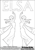DISNEY FROZEN - ELSA Thick Lines - Coloring Page 8
